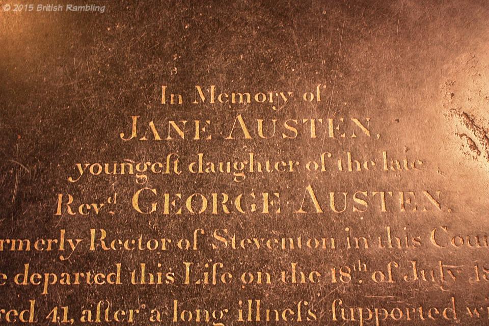 Мемориальная доска, посвященная Джейн Остин. Уинчестерский собор, Уинчестер, Англия.